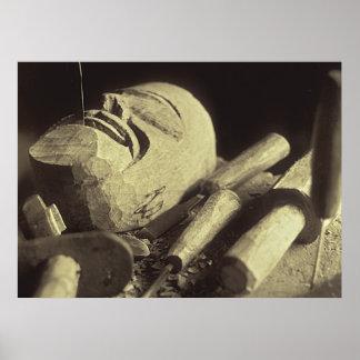 Máscara de madera mexicana posters