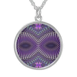 Máscara de ojo de plata púrpura colorida brillante collar de plata esterlina