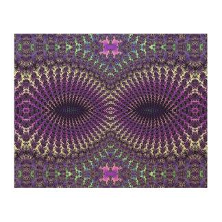 Máscara de ojo de plata púrpura colorida brillante impresiones en madera
