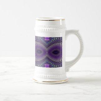 Máscara de ojo de plata púrpura colorida brillante jarra de cerveza