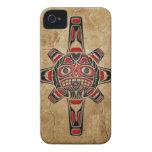 Máscara de piedra de Sun del Haida iPhone 4 Case-Mate Fundas