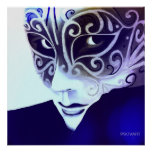 Máscara de plata del instinto en azul posters