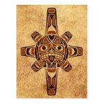 Máscara de Sun del Haida de Brown del vintage Tarjeta Postal