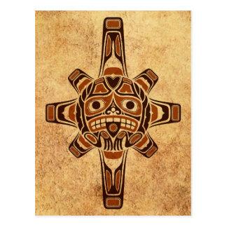 Máscara de Sun del Haida de Brown del vintage Tarjetas Postales