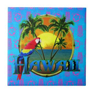 Máscara de Tiki de la puesta del sol de Hawaii Azulejos Cerámicos