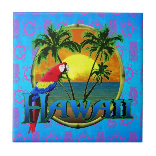 Máscara de Tiki de la puesta del sol de Hawaii Azulejo Cuadrado Pequeño