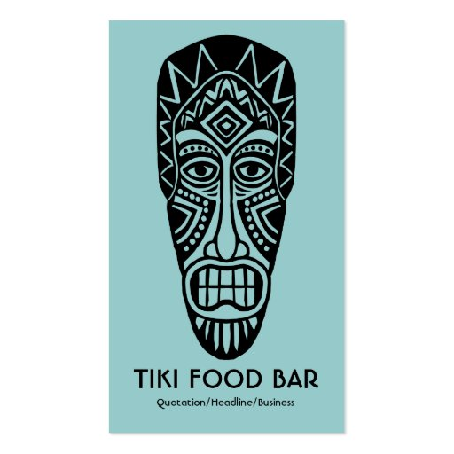Máscara de Tiki - Lt verde azul en blanco Tarjetas De Visita