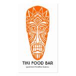 Máscara de Tiki - naranja en blanco Tarjetas De Visita