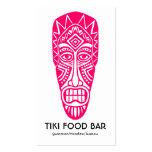 Máscara de Tiki - rojo de neón en blanco Tarjetas De Visita