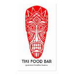 Máscara de Tiki - rojo en blanco Tarjetas De Visita
