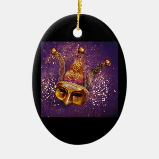Máscara decorativa del fiesta adorno navideño ovalado de cerámica