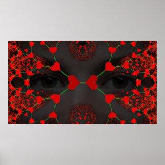 Máscara del amor - fractal del corazón impresiones