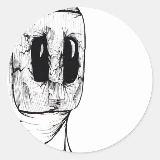 Máscara del búho etiqueta redonda
