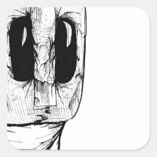 Máscara del búho pegatina cuadrada
