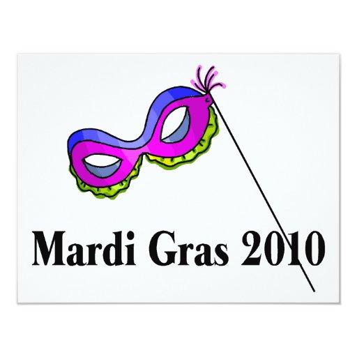 """Máscara del carnaval 2010 invitación 4.25"""" x 5.5"""""""