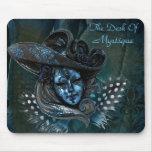 Máscara del carnaval - damasco azul Mousepad Tapetes De Raton