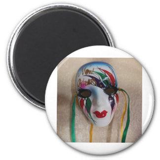 Máscara del carnaval de New Orleans Imán Redondo 5 Cm