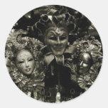 Máscara del carnaval de Venecia del carnaval Pegatina Redonda