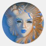 Máscara del carnaval de Venecia Etiquetas Redondas