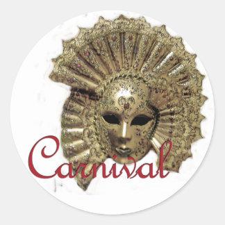 Máscara del carnaval de Venitian Pegatina Redonda