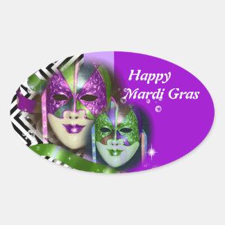 Máscara del carnaval del fiesta de la mascarada calcomania ovalada