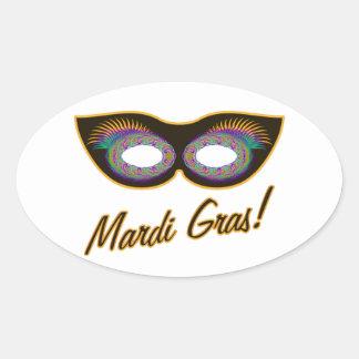 Máscara del carnaval pegatina ovalada
