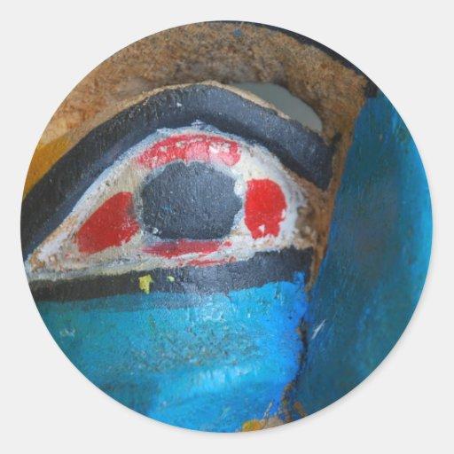 Máscara del carnaval pegatina redonda