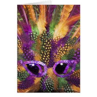 Máscara del carnaval, primer, marco completo felicitaciones