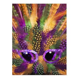 Máscara del carnaval primer marco completo postal