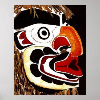 Máscara del cedro del nativo americano posters