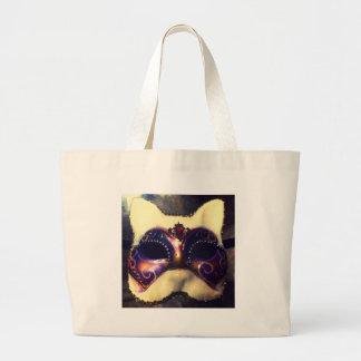 Máscara del gato bolsa tela grande