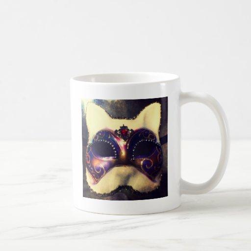 Máscara del gato tazas de café