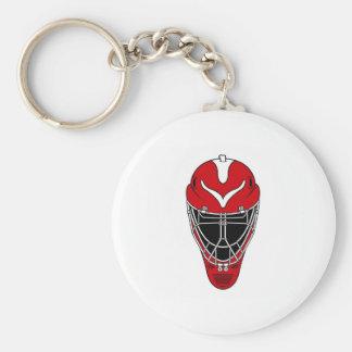 Máscara del hockey llavero redondo tipo pin