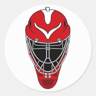Máscara del hockey pegatina redonda