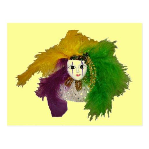 Máscara del indio del carnaval tarjetas postales