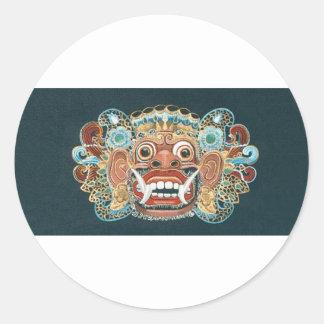 máscara del kumbakarna pegatina redonda