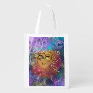 Máscara del oro de la mujer de la mascarada bolsa reutilizable