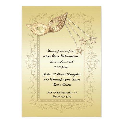 Máscara del oro del Año Nuevo, marco de la voluta Invitación 12,7 X 17,8 Cm