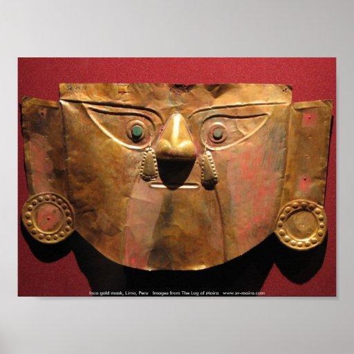 Máscara del oro del inca, Lima, Perú Póster