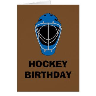 Máscara del portero del hockey del feliz tarjeta de felicitación