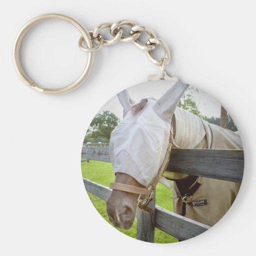 máscara del tábano sobre imagen del pasto de la ce llaveros