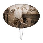 máscara del tábano sobre sepia de la cerca figuras de tarta
