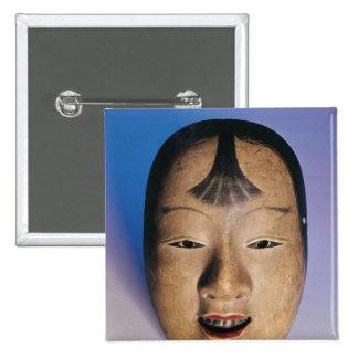 Máscara del teatro de Noh de un muchacho joven lla Pin Cuadrada 5 Cm