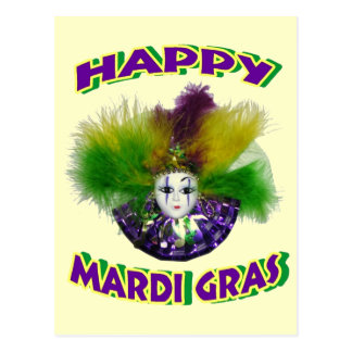 Máscara emplumada del carnaval tarjeta postal