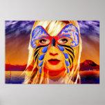 Máscara externa y poster interno de la belleza