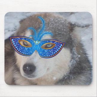 Máscara fornida del carnaval de los ojos azules de alfombrillas de raton