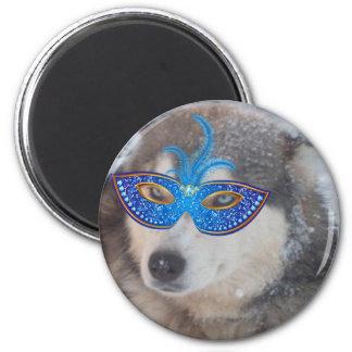 Máscara fornida del carnaval de los ojos azules imán redondo 5 cm