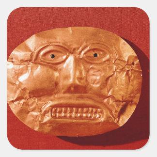 Máscara funeraria de Calima, de Restrepo, Cauca Calcomania Cuadradas Personalizada