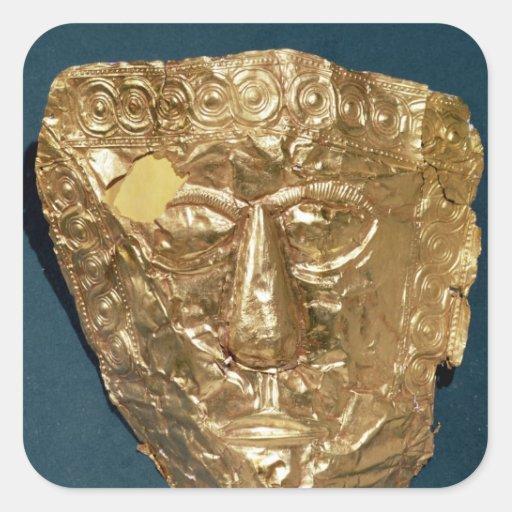 Máscara funeraria calcomanía cuadradas