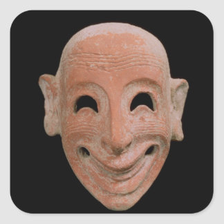 Máscara grotesca, de Motya, siglo VI A.C. (terrac Pegatinas Cuadradases